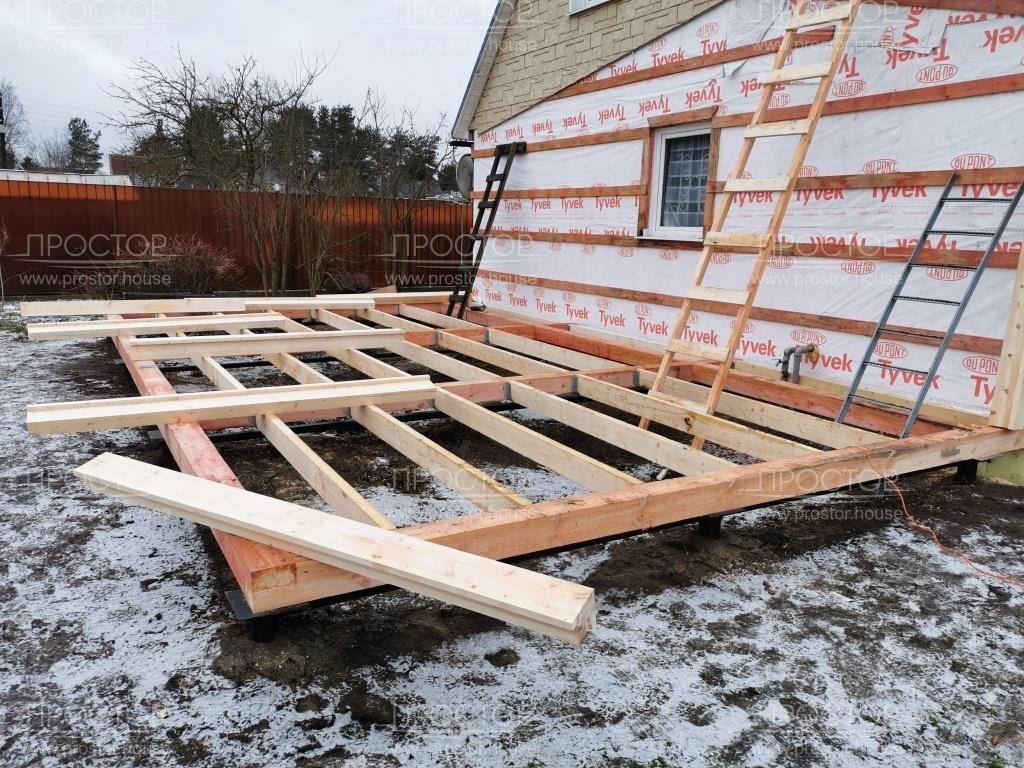 Возведение стен пристройки к деревянному дому - Простор