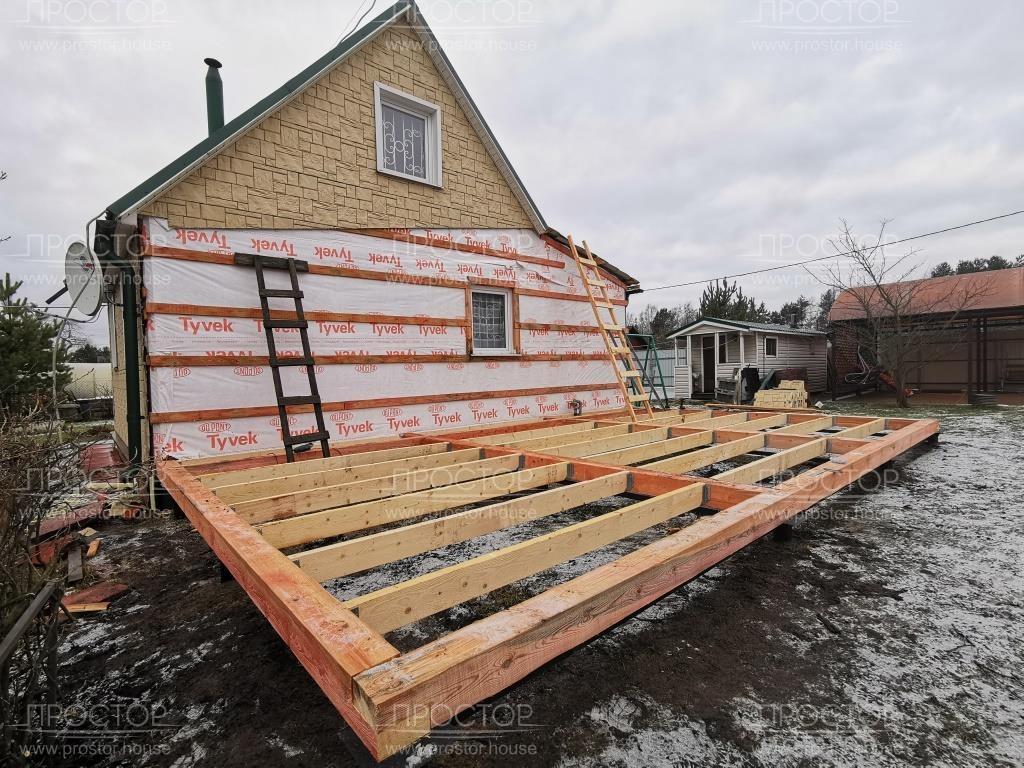 Каркасная пристройка к деревянному дому - Простор