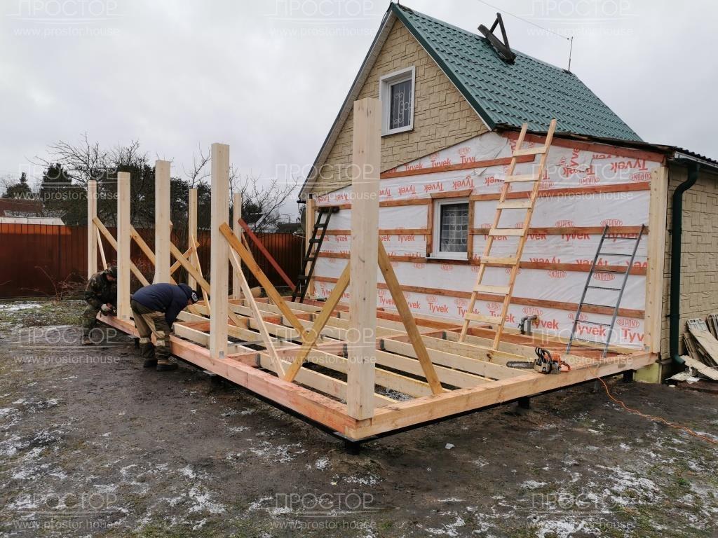 Возведение каркаса пристройки к деревянному дому - Простор