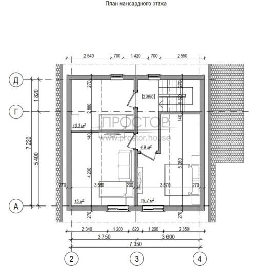 Каркасный дом 7х9 планировка мансарды-Простор