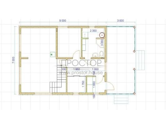 Каркасный дом 7х9 план-Простор
