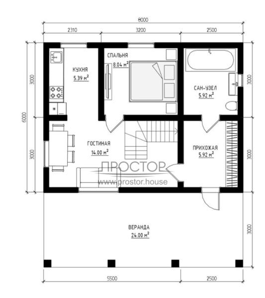 Каркасный дом 6х8 проект 1 этаж-Простор