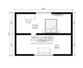 Каркасный дом 6х8 проект 2 этаж-Простор