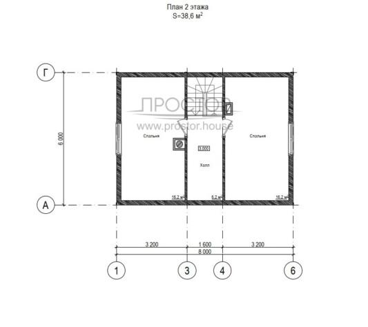 Каркасный дом 6х8 планировка 2 этажа-Простор