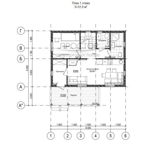 Каркасный дом 6х8 планировка 1 этажа-Простор