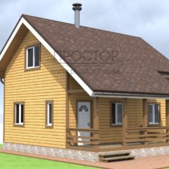 Каркасный дом 6х8 с террасой-Простор