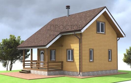 Каркасный дом 6х8 с террасой и мансардой-Простор