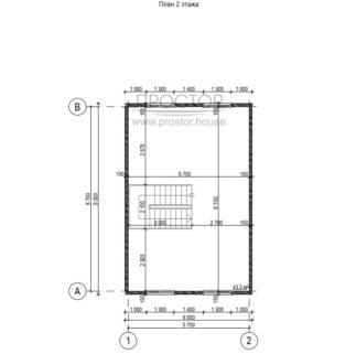 Каркасный дом 6х9 двухэтажный чертеж-Простор