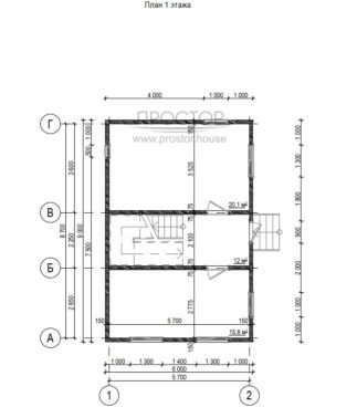 Каркасный дом 6х9 проект 1 этаж-Простор
