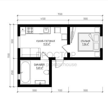 Каркасный дом 7х4 проект-Простор