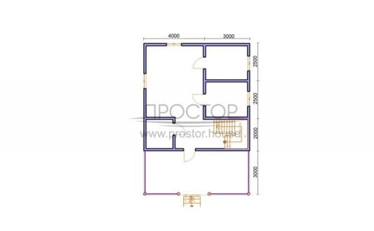 Строительство каркасного дома 7х7 проект 1 этаж-Простор