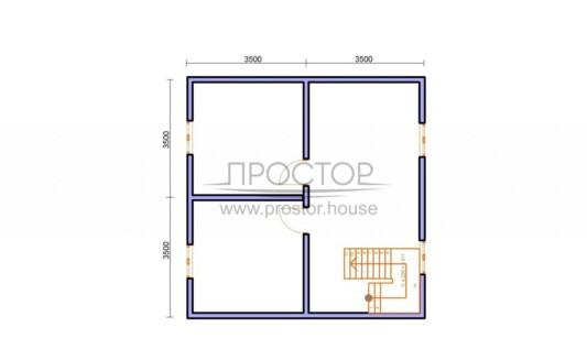 Строительство каркасного дома 7х7 проект 2 этаж-Простор