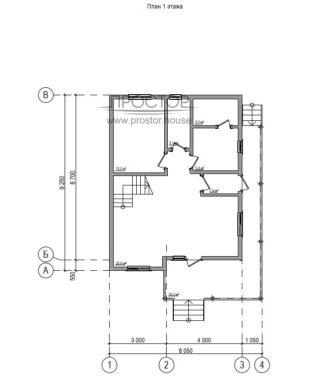 Каркасный дом 7х9 проект 1 этаж-Простор