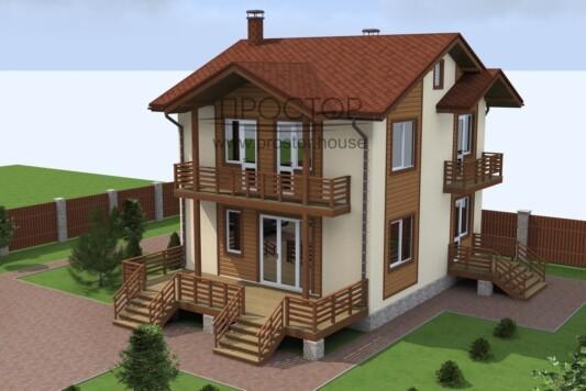 Каркасный дом 8х8 двухэтажный-Простор