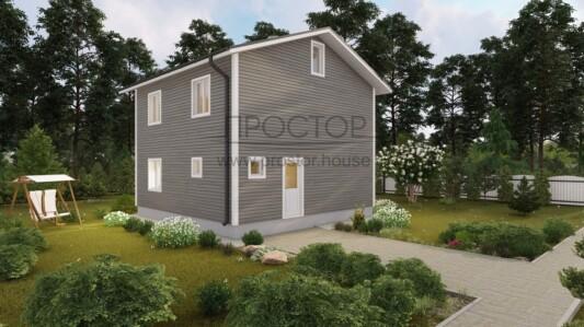 Каркасный дом 8х8 компактная планировка-Простор