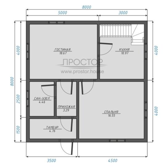 Каркасный дом 8х8 планировка 1 этажа-Простор