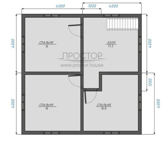 Каркасный дом 8х8 планировка 2 этажа-Простор
