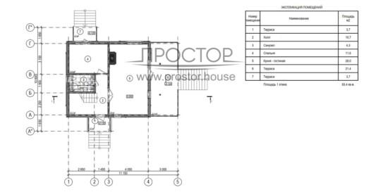 Каркасный дом 8х8 проект 1 этаж-Простор