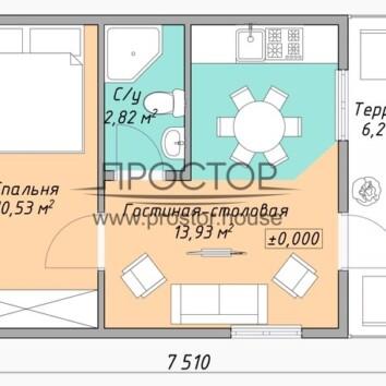 Каркасный дом 5х7 проект-Простор