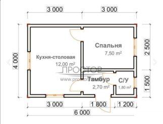 Каркасный дом 6х4 проект-Простор