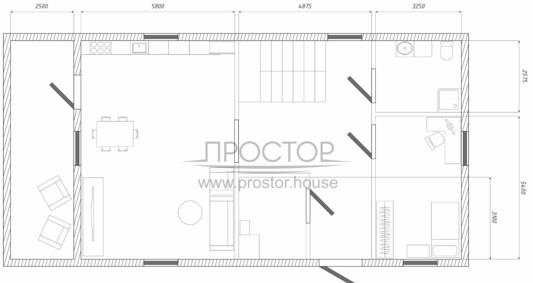 Каркасный дом 8х11 с мансардой планировка-Простор