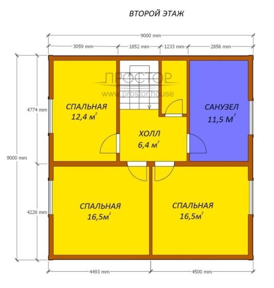 Каркасный дом 9х9 проект 2 этаж-Простор