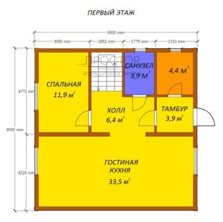 Каркасный дом 9х9 проект 1 этаж-Простор
