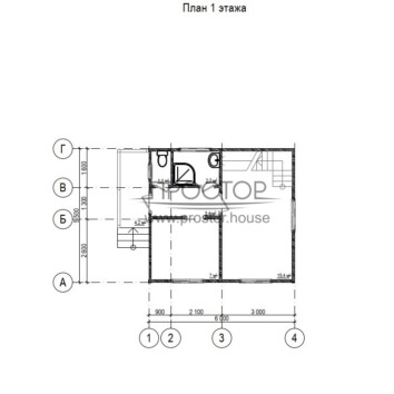 Строительство каркасного дома 6х5 проект 1 этаж-Простор