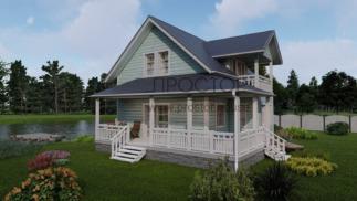 Каркасный дом с балконом и террасой - Простор
