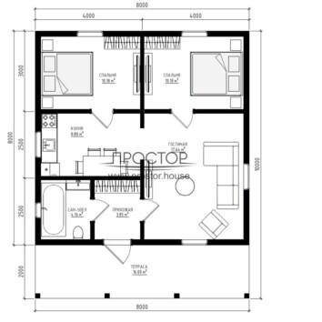 Каркасный дом 8 на 8 строим быстро - Простор