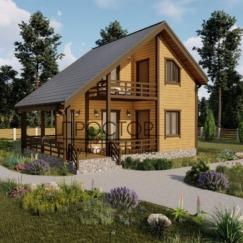 Каркасный дом 6 на 6 с террасой и балконом построить быстро в СПб - Простор